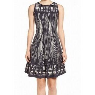 Nic + Zoe NEW Gray Women's Size Medium M Striped A-Line Sweater Dress