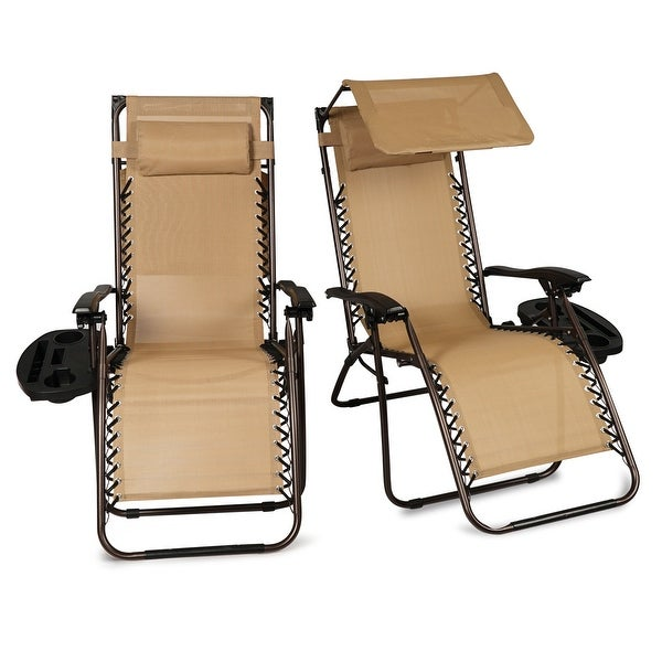 Shop Belleze 2 Pc Canopy Top Zero Gravity Chairs Patio W