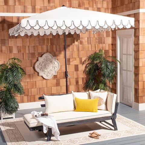 SAFAVIEH Outdoor Living Elegant Valance 7.5 Ft Square Umbrella