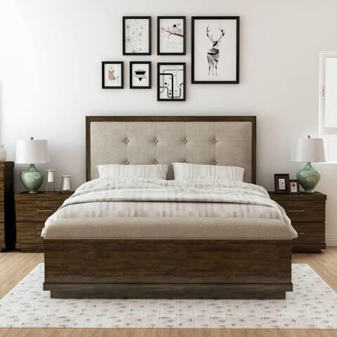 Furniture of America Syra Walnut 3-piece Bedroom Set with 2 Nightstands