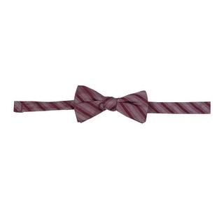 Ryan Seacrest Men's DistinctiBodysuitrra Stripe Bow Tie (OS, Burgundy) - bugundy - os