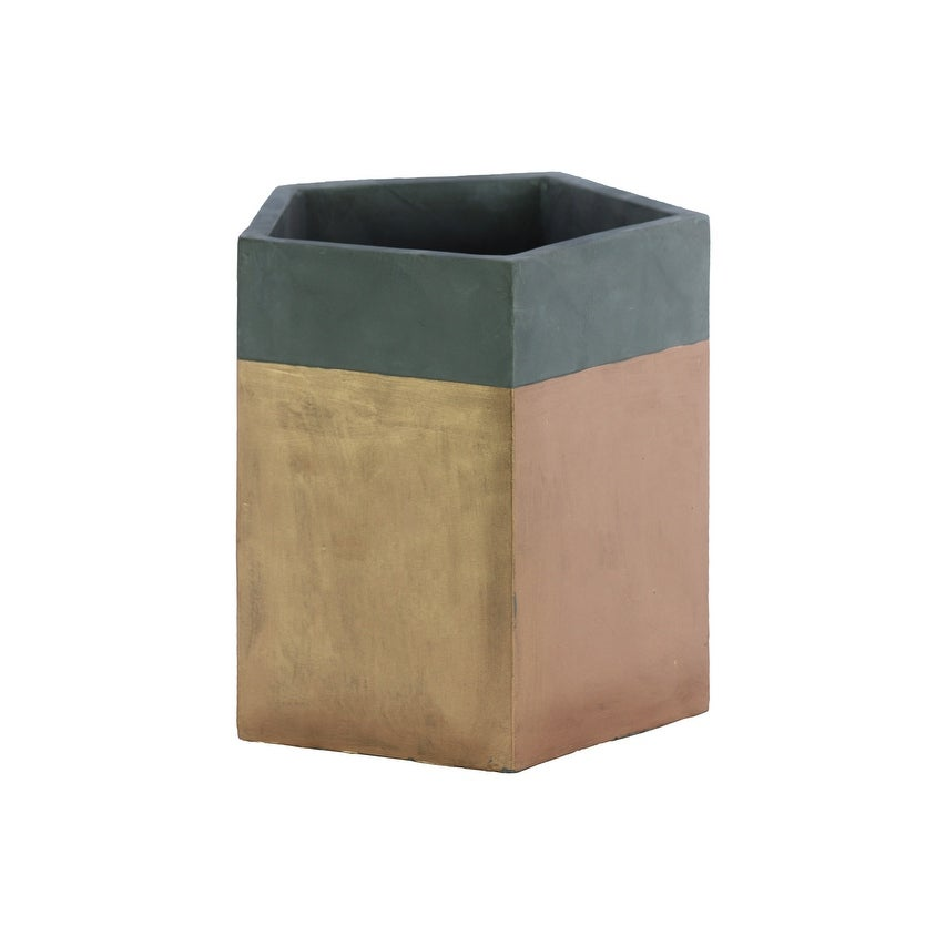 Pentagonal Shape Cemented Flower Pot With Gold Banded Rim, Gray