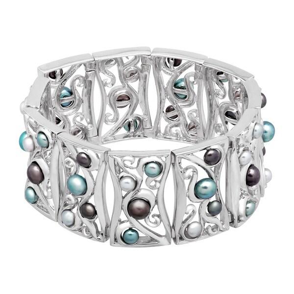 Honora Blue Freshwater Pearl Paneled Swirl Bracelet in Sterling Silver