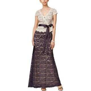 Adrianna Papell Womens Petites Evening Dress Lace Peplum - 4P