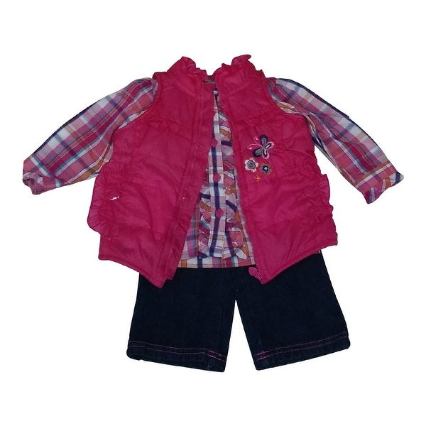 American Character Baby Girls Fuchsia Checker Shirt Vest Denim Pants Outfit