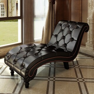vidaXL Chesterfield Brown Chaise Lounge Button Tufted