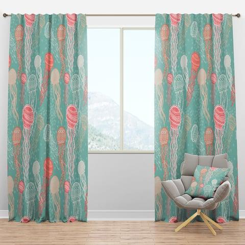 Designart 'Jellyfish Pattern' Nautical & Coastal Blackout Curtain Panel