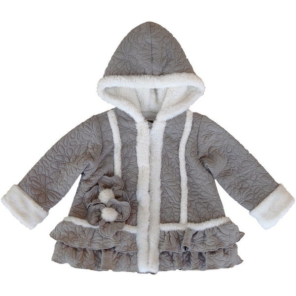 Isobella & Chloe Baby Girls Grey Ivory Trimmed Hooded Charlotte Coat 12-24M