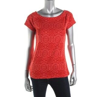 Lauren Ralph Lauren Womens Pattern Short Sleeves T-Shirt - M