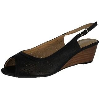 Refresh Womens Rise-01 Comfy Peep Toe Sling Back Wedge Sandals
