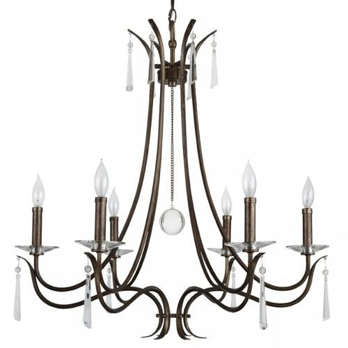 "Park Harbor PHHL6256 28"" Wide 6 Light Single Tier Candle Style Chandelier with Crystal Accents"