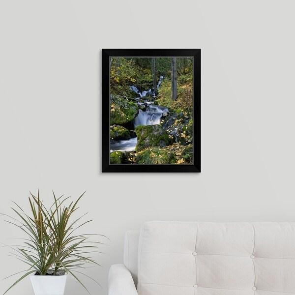 """Moss-covered boulders, autumn color birch trees along Falls Creek, Alaska"" Black Framed Print"
