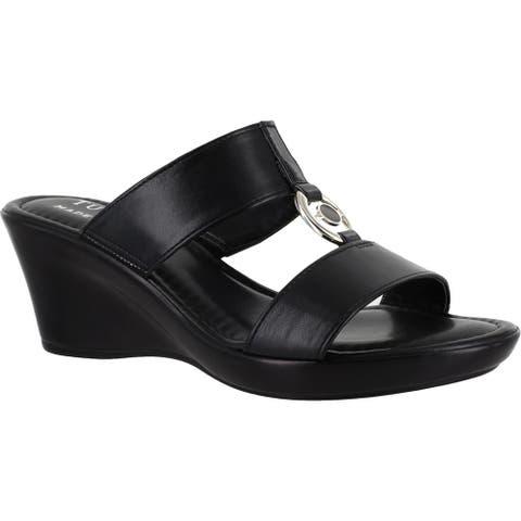 Tuscany By Easy Street Womens Calla Wedges Faux Leather Slip On - Black