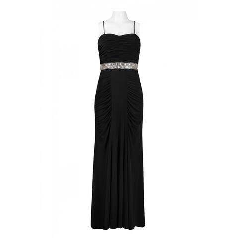 JS Boutique Spaghetti Strap Beaded Empire Waist Gathered Jersey Dress, Black, 10