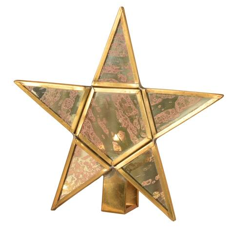 6 Inches Star Shape Mirror Insert Metal Tealight Holder, Brass
