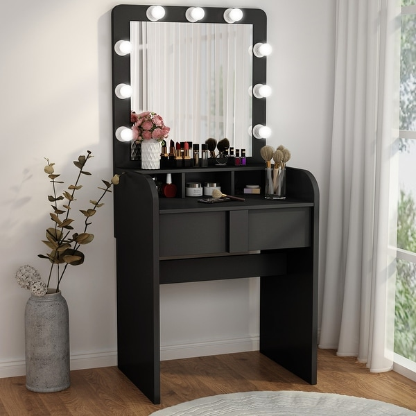 Vanity Table Set with Lighted Mirror 2 Drawers. Opens flyout.
