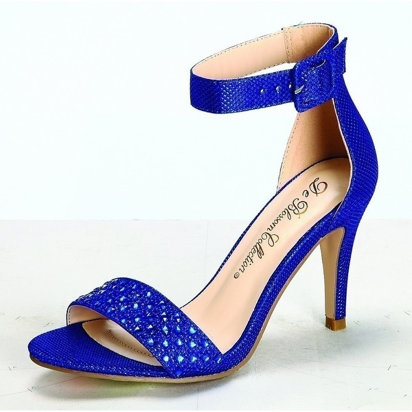 d9c5d85fcdee Shop Adult Royal Blue Buckled Ankle Strap Milly-1 Heeled Sandals - Free  Shipping Today - Overstock - 19491375