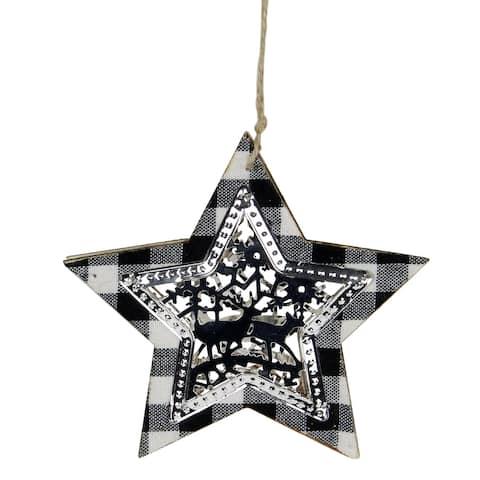 "5"" Buffalo Plaid Star Shaped Hanging Christmas Ornament Decoration"