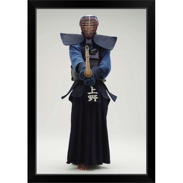 """Portrait of a Kendo Fencer"" Black Framed Print"