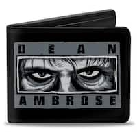 Dean Ambrose Lunatic Eyes Black Grays + Black Blue Yellow Burgundy Bi Fold Bi-Fold Wallet - One Size Fits most