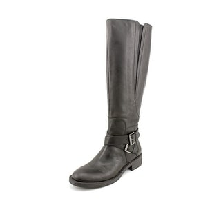 Enzo Angiolini Scarly Women Round Toe Leather Black Knee High Boot