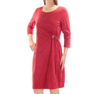 Womens Red 3/4 Sleeve Knee Length Dress Size: M