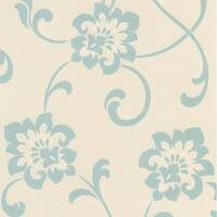 Brewster DL30648 Sharon Aqua Jacobean Floral Wallpaper - aqua jacobean floral