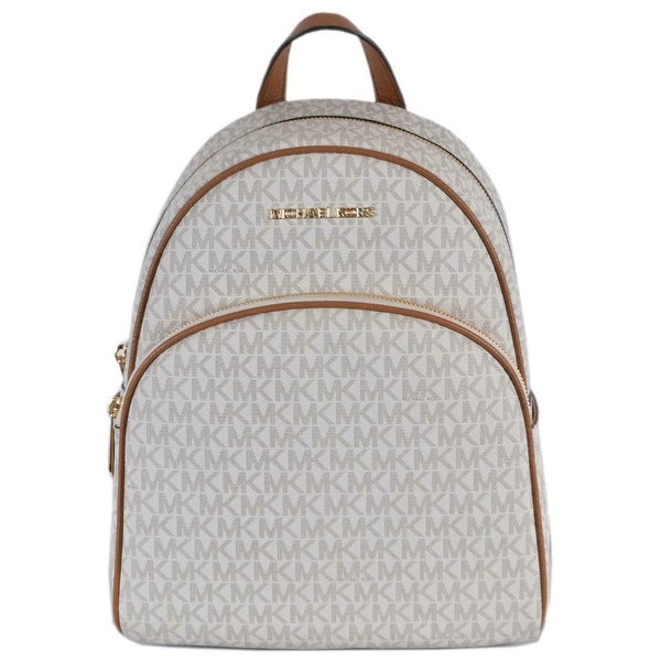 cd2281d1d39d Michael Kors Vanilla Acorn Coated Canvas Signature Abbey Backpack Bag - 12