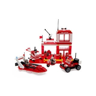 Best Lock Construction Toys 450 Piece: Fire Station - Red
