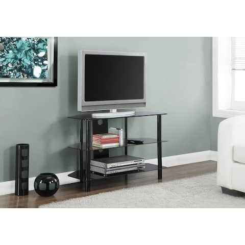 Monarch 2506 Black Metal With Tempered Black Glass 36nch Tv Stand