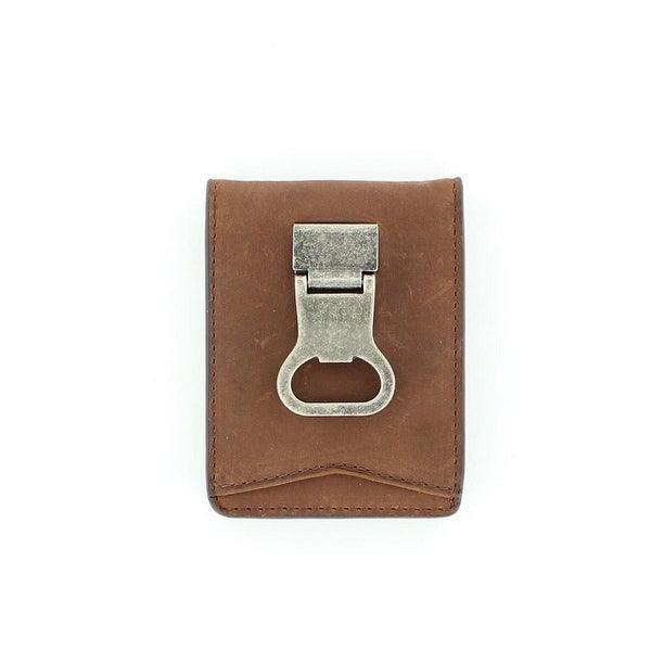 Nocona Western Wallet Mens Bifold Metal Clip Distressed Brown - One size