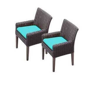 "Miseno MPF-TKC099BDCC Mediterranean 2-Piece 35"" Tall Aluminum Framed Outdoor Dining Arm Chair Set"