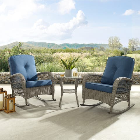 Corvus Salerno Outdoor 3-piece Wicker Chat Set with Rocking Chairs