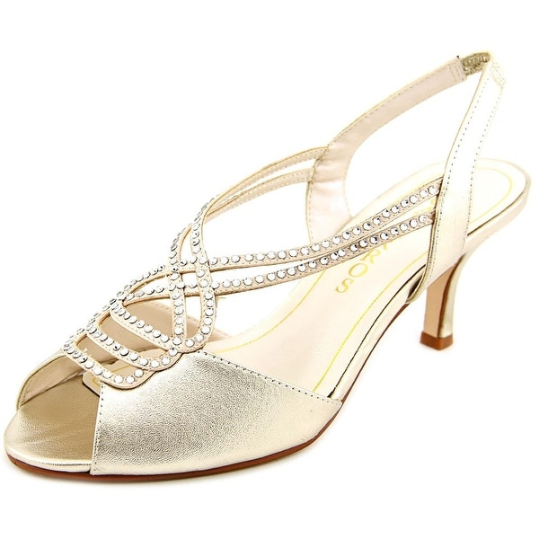 Caparros Philomena Women Peep-Toe Synthetic Gold Slingback Heel