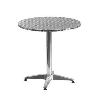 "Offex 27.5"" Round Aluminum Indoor-Outdoor Table With Base"