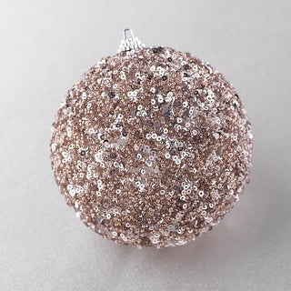 "4"" Rich Elegance Champagne and Mauve Beaded Christmas Ball Ornament"