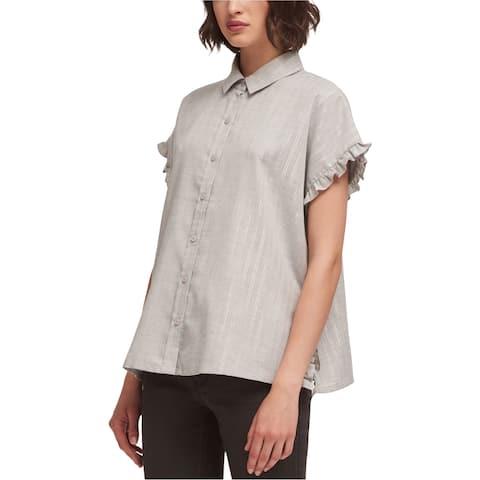 DKNY Womens Lurex Stripe Button Down Blouse, Grey, Large