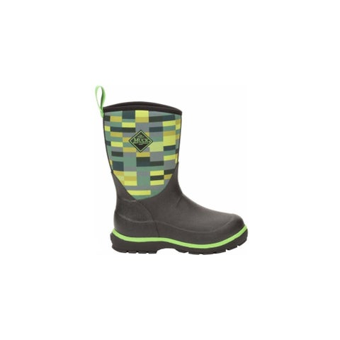 Muck Boots Black/Poison/Green/Pixel Print Youth's Element Boot - Size 13