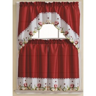 Leela-3 Piece Embroidered Kitchen Curtain Set, Burgundy, Tiers 30x36, Swag 60x36 Inches