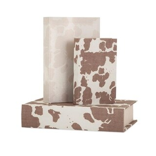 """Set of 3 Cream White and Brown Cow Print Decorative Book Style Boxes 13.5"""""""
