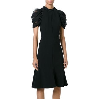 Alexander McQueen Black Draped Sleeve A-line Dress 42