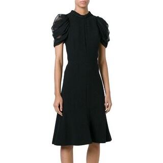 Alexander McQueen Black Draped Sleeve A-line Dress 42