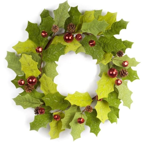 Pack of 2 Decorative Sparkling Green Holly with Red bells Wreath - brown