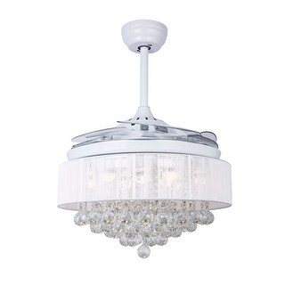 """Modern 42.5"""" Crystal LED Ceiling Fan with Foldable Blades, White"""
