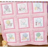 Stamped White Nursery Quilt Blocks 9 in.X9 in. 12- Pkg-Sunbonnet