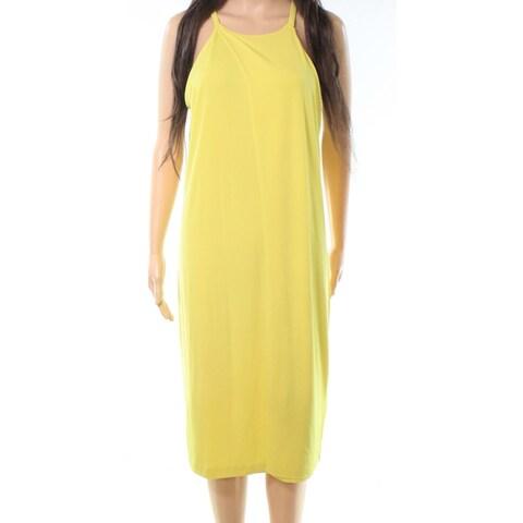 Bar III Yellow Womens Size Large L Sleeveless Keyhole Sheath Dress