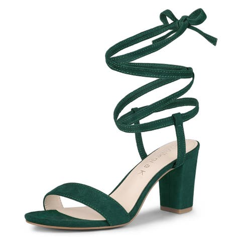 Women's Lace Up Chunky Heels Sandals