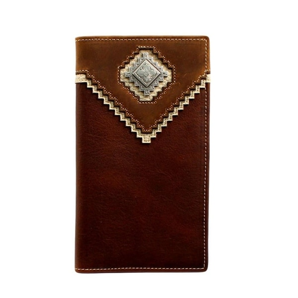Nocona Western Wallet Mens Leather Diamond Concho Rodeo Brown