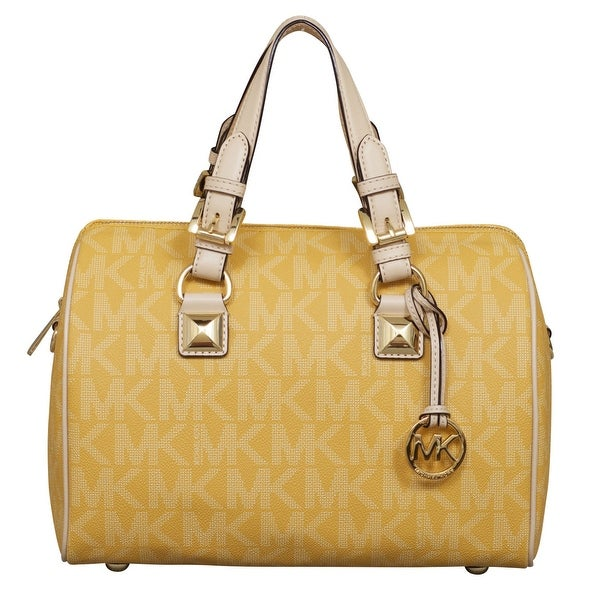 cfc3f80e4b3c Shop Michael Kors Medium Signature Grayson Satchel Handbag in Sun Yellow -  Free Shipping Today - Overstock - 22697587