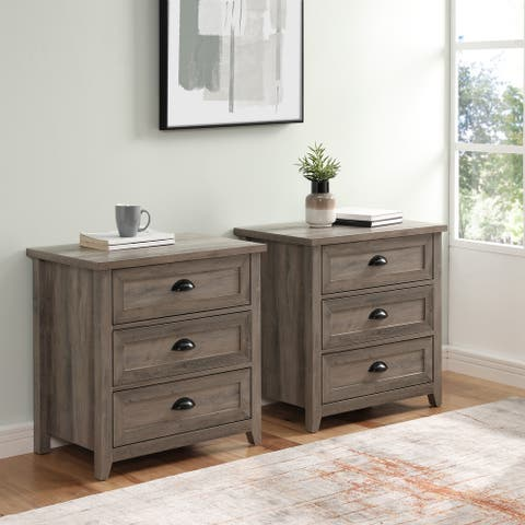 The Gray Barn 3-Drawer Farmhouse Nightstands, Set of 2